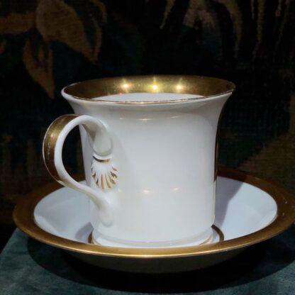 Furstenberg cup & saucer, silhouette Prussian soldier & cannon, 'Aus grosser Beit' c. 1920 -32404