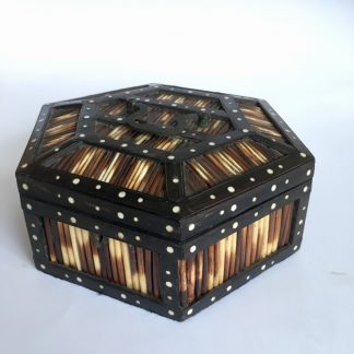 Sinhalese (Sri Lanka) porcupine quill octagonal box, ebony & ivory, 'CEYLON' c. 1900. -0