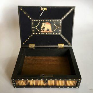 Sinhalese (Sri Lanka) porcupine quill box, ebony & ivory, c. 1900. -0