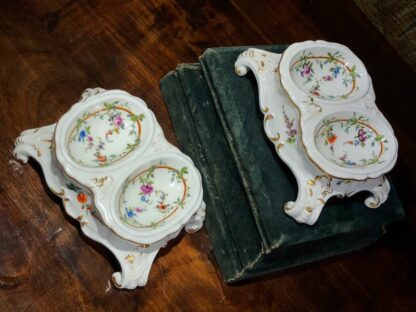 Pair of Meissen Rococo double salts with flower decoration, c. 1765-32463