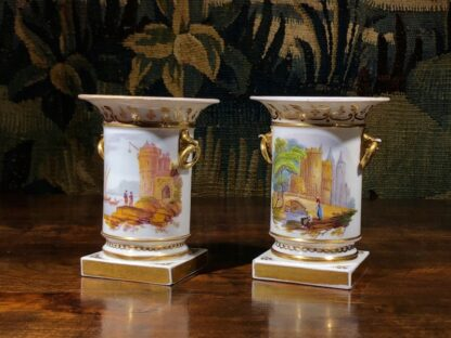 Pair of Rockingham porcelain spill vases with Continental scenes, c. 1835-32335