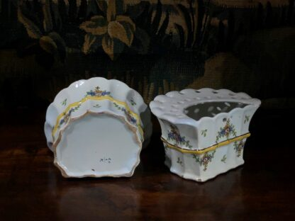 Pair of German faience bough pots, fluted form with flowers, c. 1780 -32443