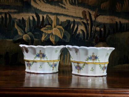 Pair of German faience bough pots, fluted form with flowers, c. 1780 -32436