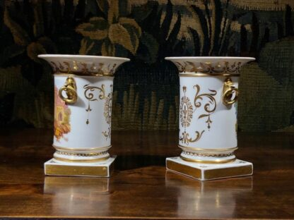 Pair of Rockingham porcelain spill vases with Continental scenes, c. 1835-32337