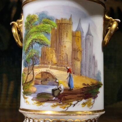 Pair of Rockingham porcelain spill vases with Continental scenes, c. 1835-32333