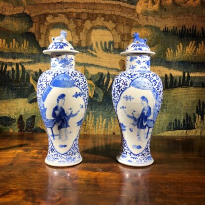 Pair of Chinese Export vases & covers, Kanxi revival, 19th /20th Century -32327