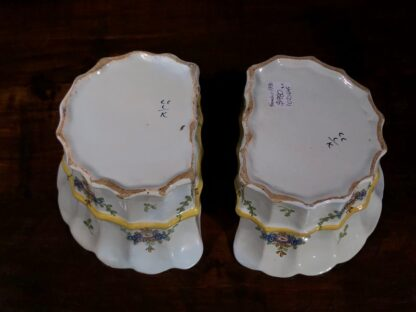 Pair of German faience bough pots, fluted form with flowers, c. 1780 -32444