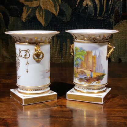 Pair of Rockingham porcelain spill vases with Continental scenes, c. 1835-32336