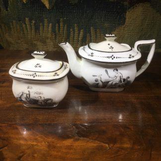 Staffordshire pearlware childs teapot & sucrier, Adam Bucks prints in black, c. 1820 -0