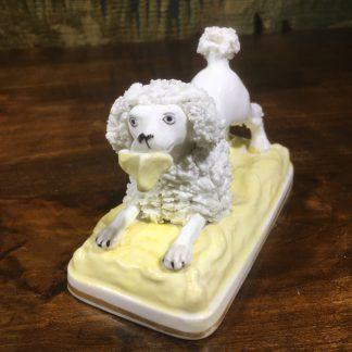 Minton porcelain spaniel dog with bird, c. 1835-0