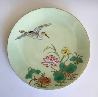 Porcelain plate by Minton, enamelled crane and lotus flowers, 1877 -0
