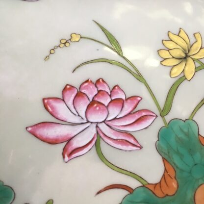 Porcelain plate by Minton, enamelled crane and lotus flowers, 1877 -32761