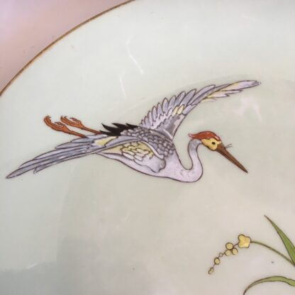 Porcelain plate by Minton, enamelled crane and lotus flowers, 1877 -32760