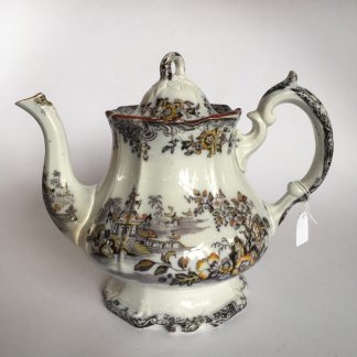 English pottery teapot, chinoiserie printed pattern, c.1840 -0