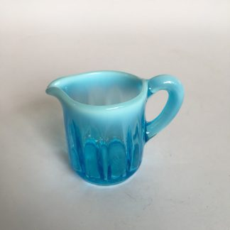 Small turquoise Vaseline glass jug, c.1890 -0