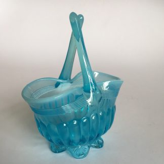 Victorian turquoise Vaseline glass basket on frilled feet, c.1890 -0
