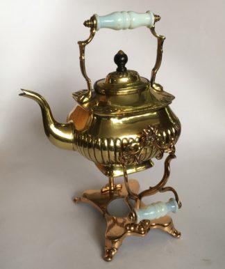 Victorian brass spirit kettle on fancy copper stand, milk glass handles, c. 1895-0