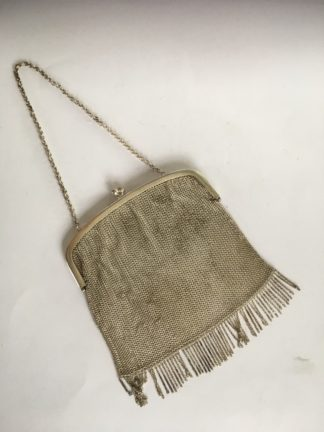 Silver plated mesh purse, chain handle, c.1900 -0