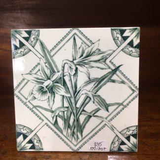 Victorian pottery tile - daffodils - circa 1880.-0