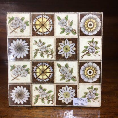 Victorian pottery tile - flower squares - 1886-0
