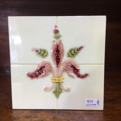 Victorian pottery tile, majolica fleur-de-lis, c.1900 -0