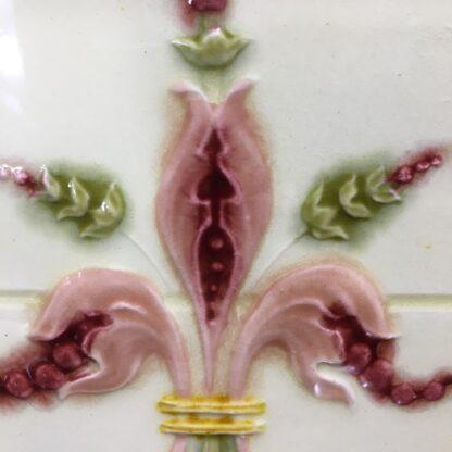Victorian pottery tile, majolica fleur-de-lis, c.1900 -32925