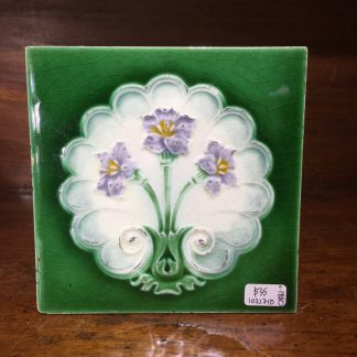 Victorian pottery tile, majolica glaze flowers, c. 1880 -0