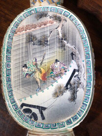 Satsuma Kyoto vase with scenic panels, pierced sides, c.1880-33553