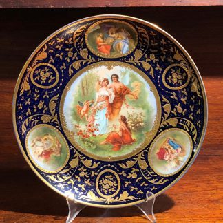 Vienna style charger, printed & painted & gilt with figures, c. 1900-0