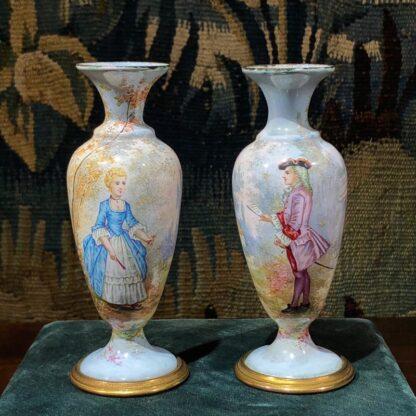 Pair of Viennese enamel vases, lady & gent, circa 1900 -0