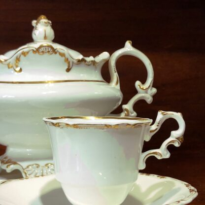 Copeland & Garrett tea service, setting for 6 with simple gilt, c. 1840 -33090