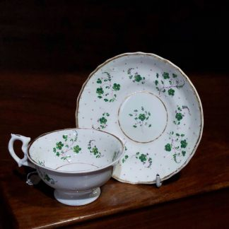 English porcelain cup & saucer, green & purple flower sprigs c.1840-0