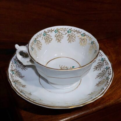 English porcelain cup & saucer, gilt & daisy pattern, c. 1860 -33112