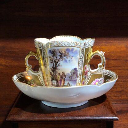 Helena Wolfson Dresden chocolate cup & saucer, Meissen style, c. 1880-33434