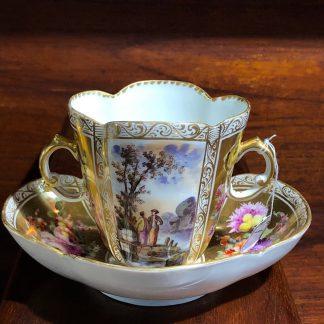 Helena Wolfson Dresden chocolate cup & saucer, Meissen style, c. 1880-0