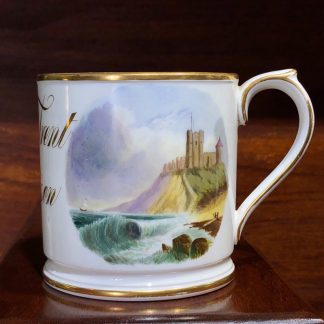 English porcelain mug titled James Trent Christison, scenic panels, 1866-0