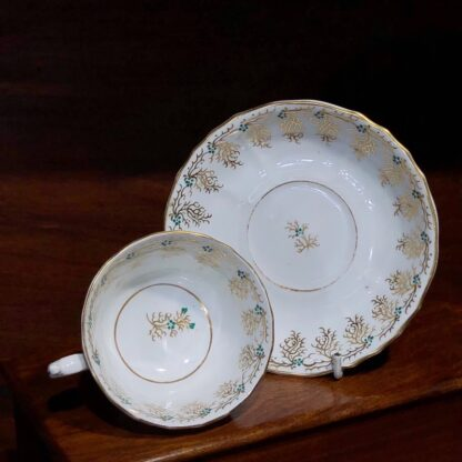 English porcelain cup & saucer, gilt & daisy pattern, c. 1860 -33111