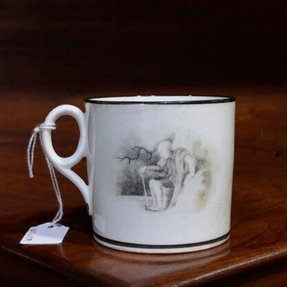English porcelain coffee can, bat print of child & rocking horse, c.1810. -0