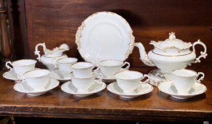 Copeland & Garrett tea service, setting for 6 with simple gilt, c. 1840 -0