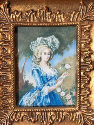 Portrait miniature on Ivory, Lady in blue, 20th century -0