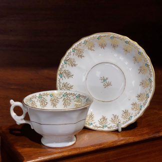 English porcelain cup & saucer, gilt & daisy pattern, c. 1860 -0