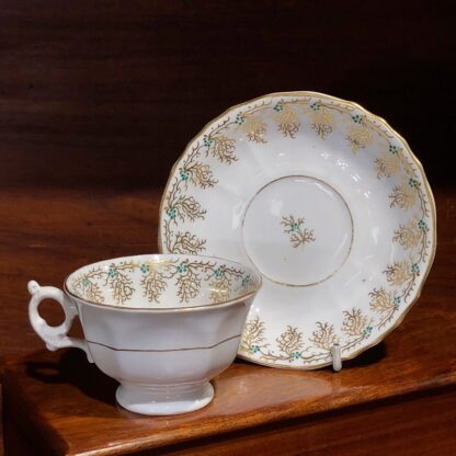 English porcelain cup & saucer, gilt & daisy pattern, c. 1860 -0