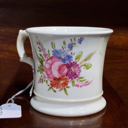 English bone china mug, printed & painted with flowers, c. 1840 -33013