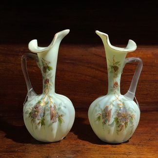 Pair of Victorian glass ewers, lily spouts, c. 1890-0
