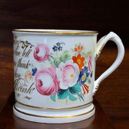 Porcelain presentation mug - John Wooley 'How I love a Drop of Drink' c.1850 -33124