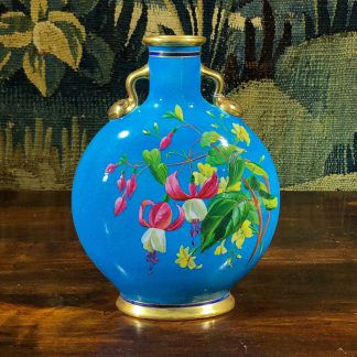 Victorian turquoise moon flask by Minton, flower enamels, dated 1873-0