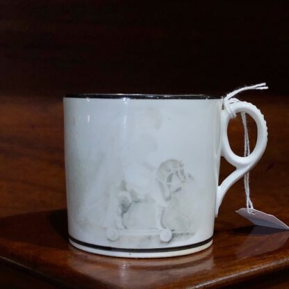English porcelain coffee can, bat print of child & rocking horse, c.1810. -33053
