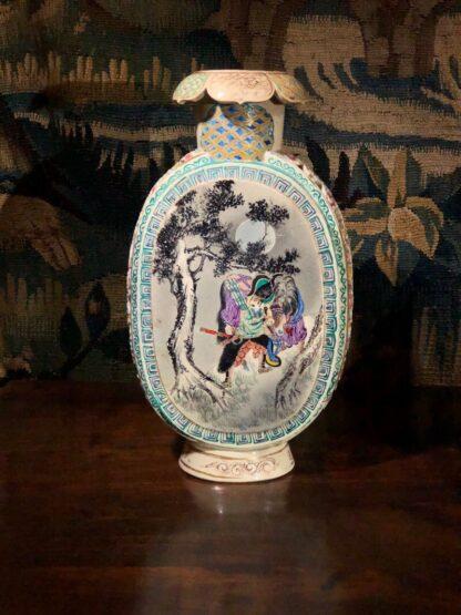Satsuma Kyoto vase with scenic panels, pierced sides, c.1880-0