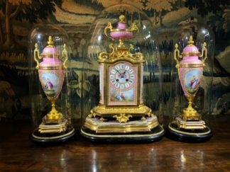 French clock garniture set, Kilpatrick & Co, in original glass domes, circa 1885-0