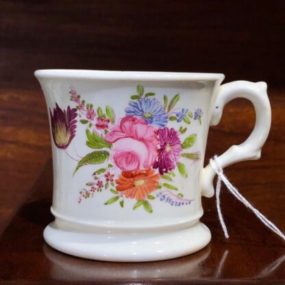 English bone china mug, printed & painted with flowers, c. 1840 -0